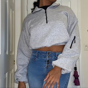 Light Gray Cropped Hoodie